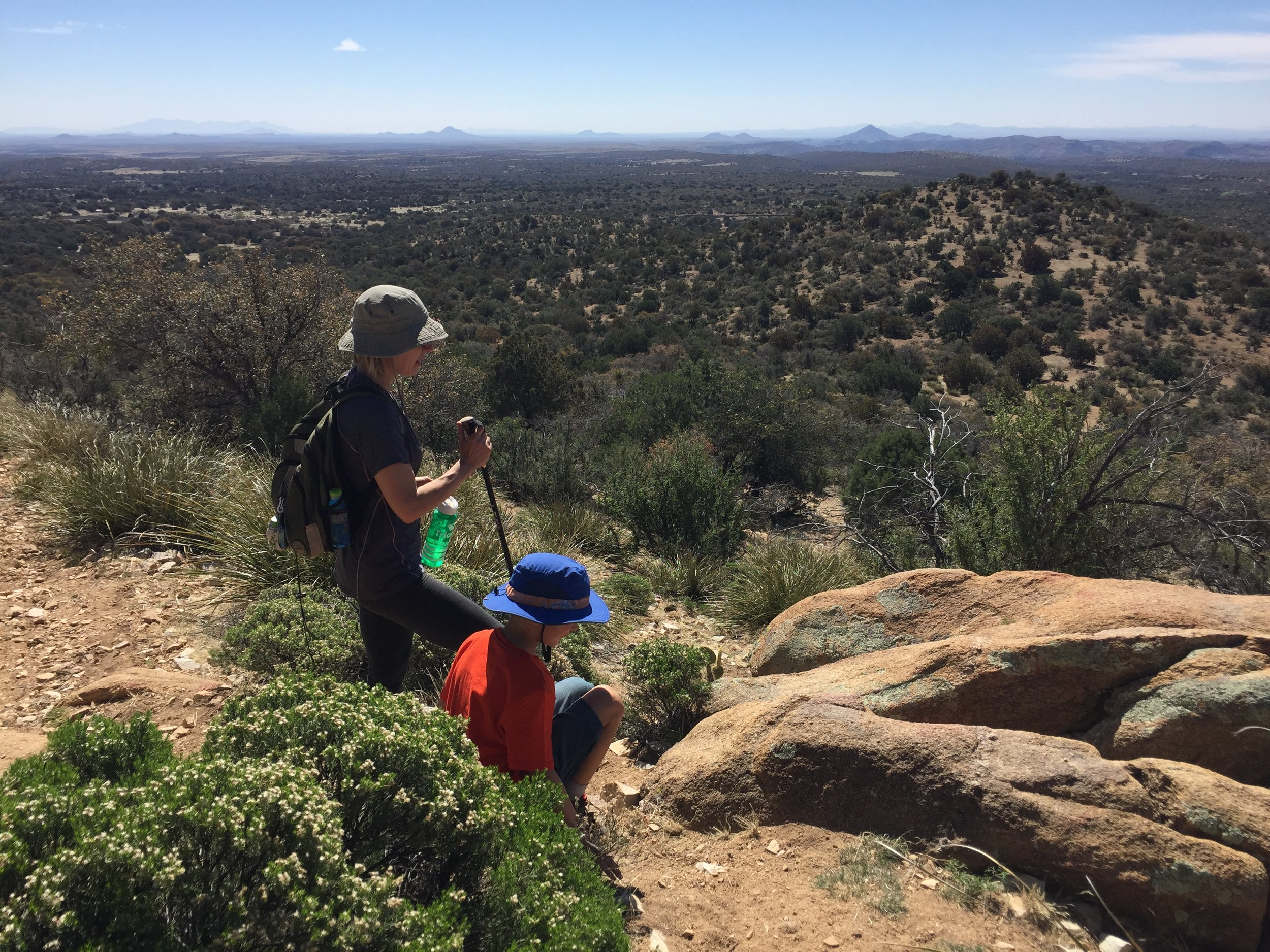 Hiking up a hill in Gila National Forest