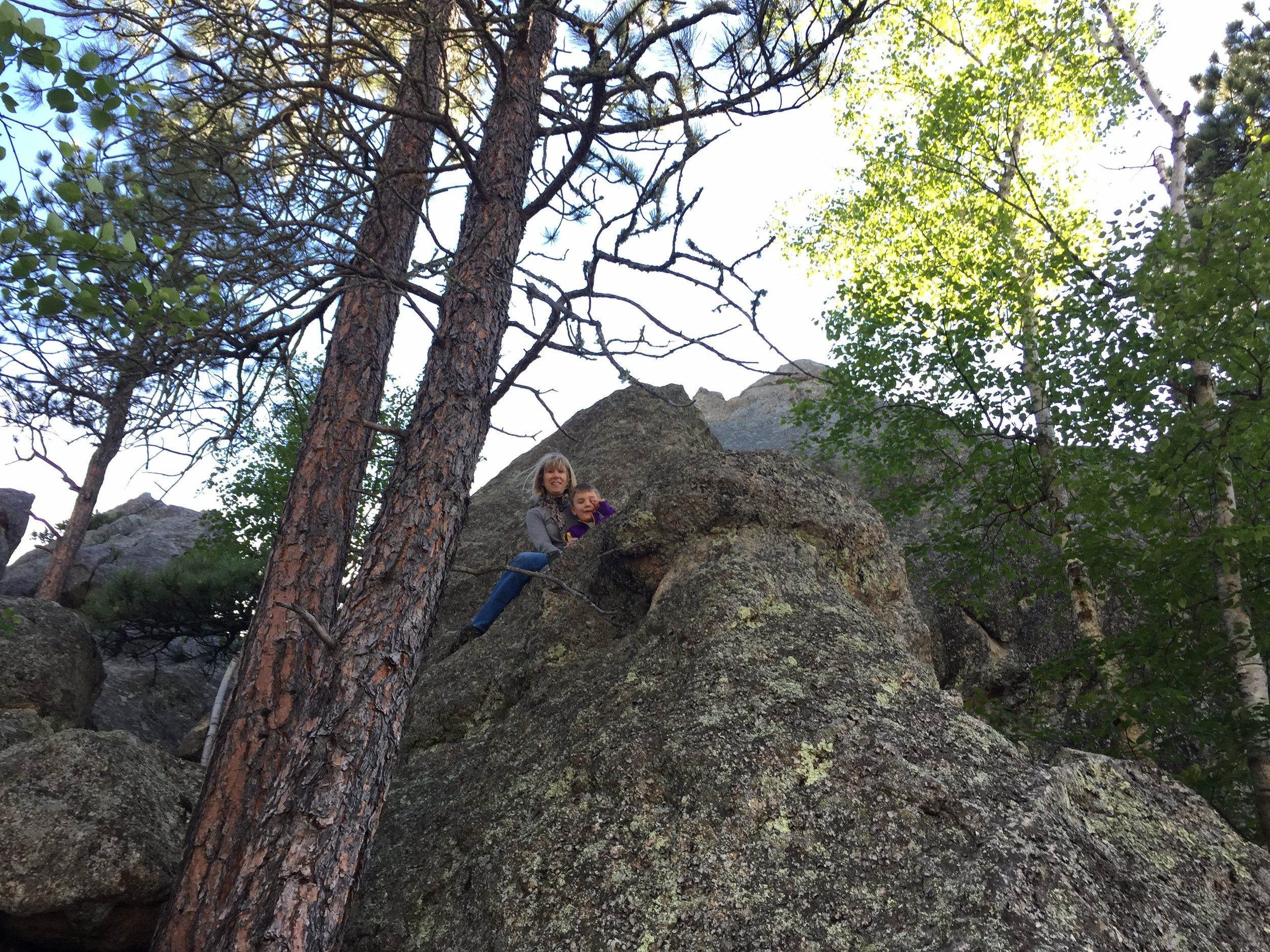 Climbing around campsite