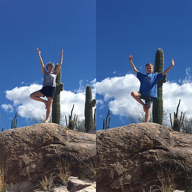 Like Auntie, like nephew....the Saguaro Cactus pose. #yoga #perfectweather #hiking #family #catalinastatepark #tucson #saguaropose