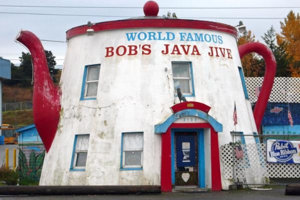 Bob's Java Jive is a dive bar jungle inside of a teapot. It's a great spot to see live music or sing karaoke.