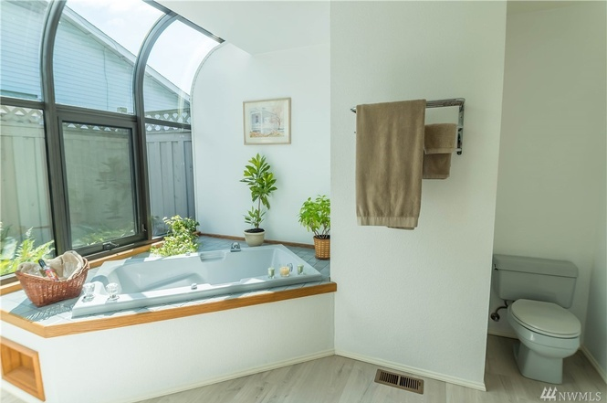 Master bath features gorgeous light over the jetted tub.