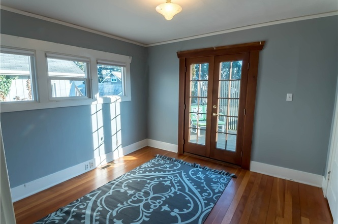 French doors make this a beautiful main floor bedroom.