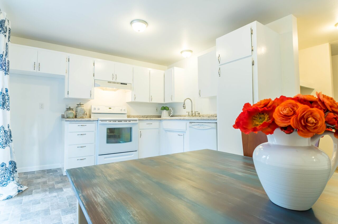 Numerous cabinets include a big pantry style cupboard. Kitchen offers a dishwasher and stove.
