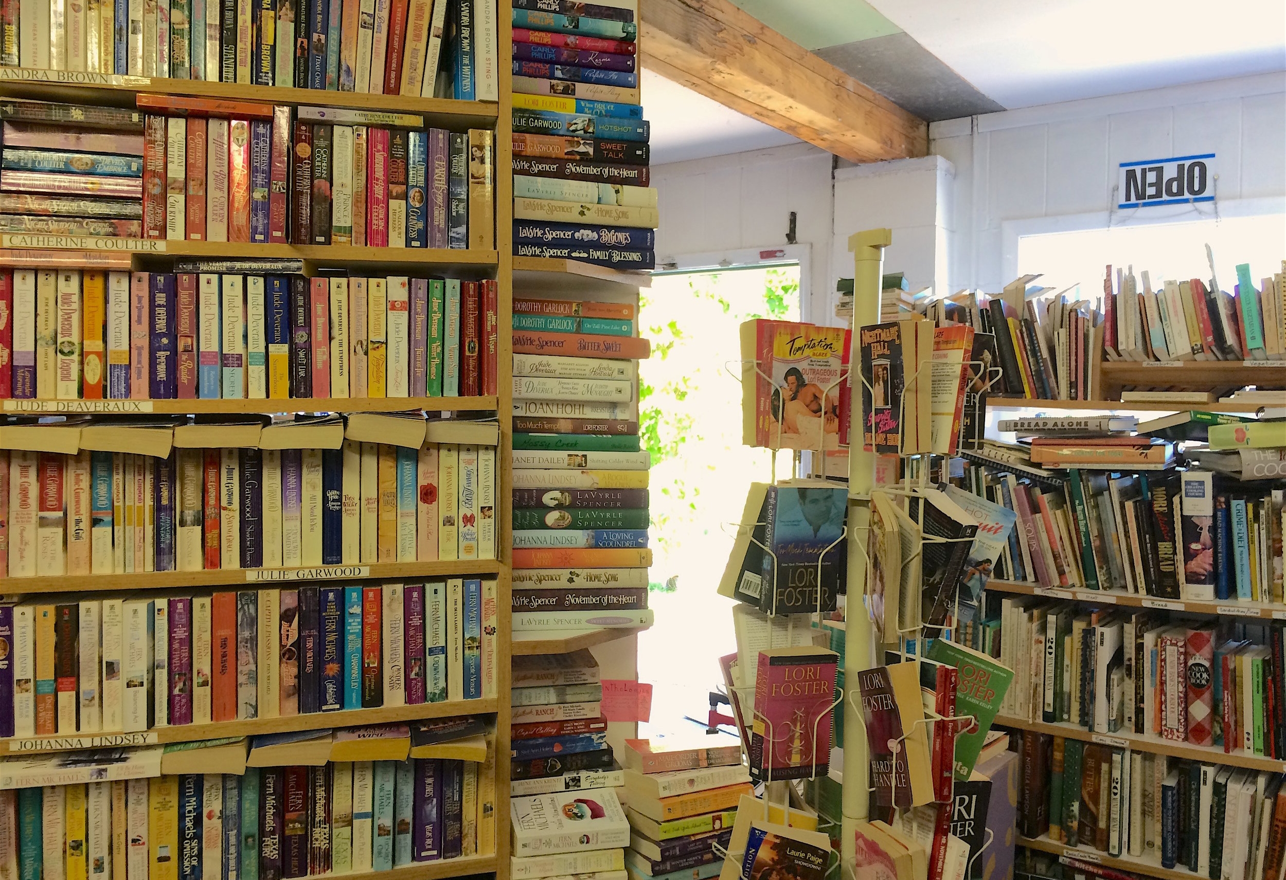 Shelves, stacks, racks, and piles at Park Avenue Books.