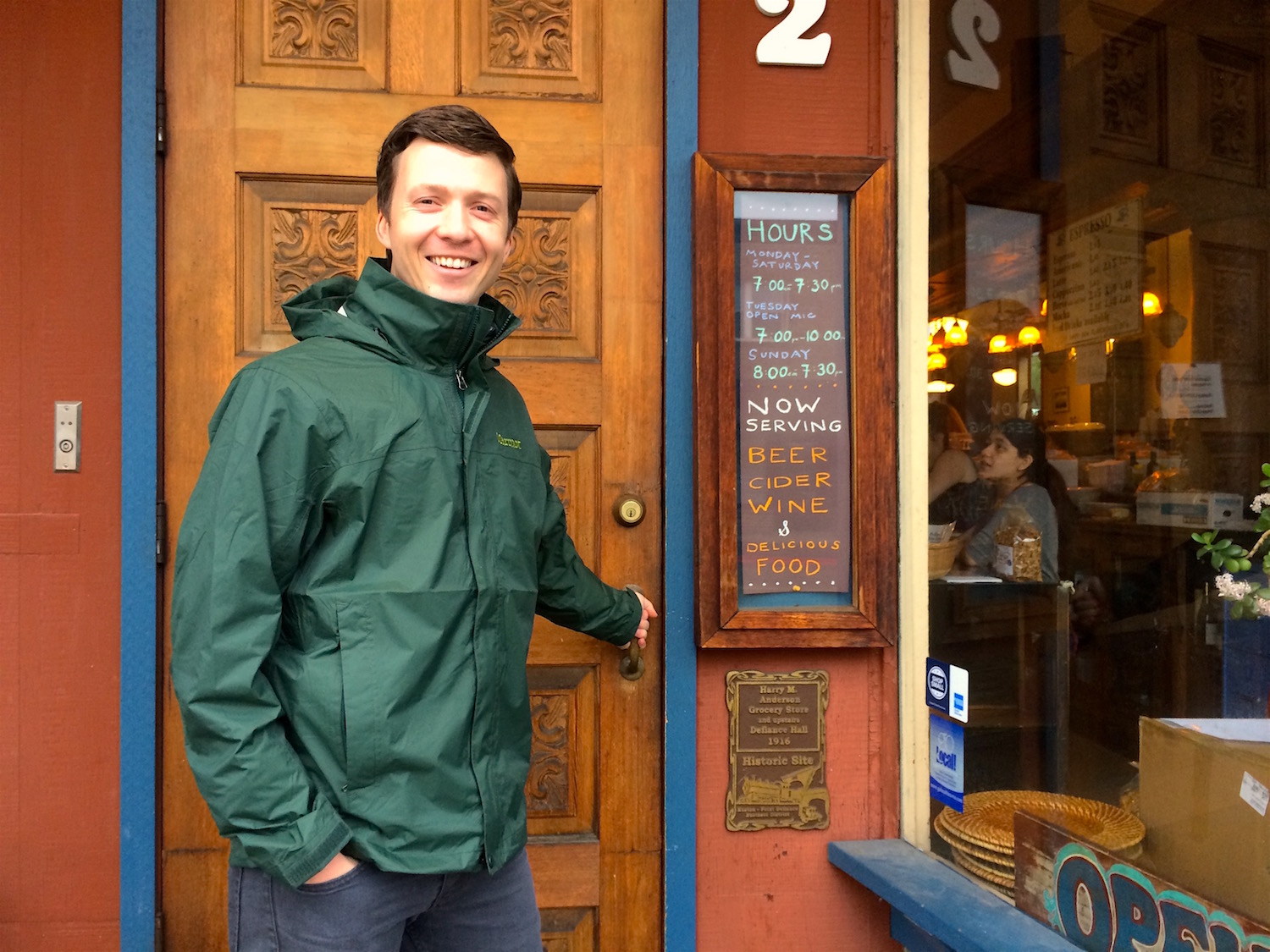 Michael heading in to the Antique; it gets pretty full in here!