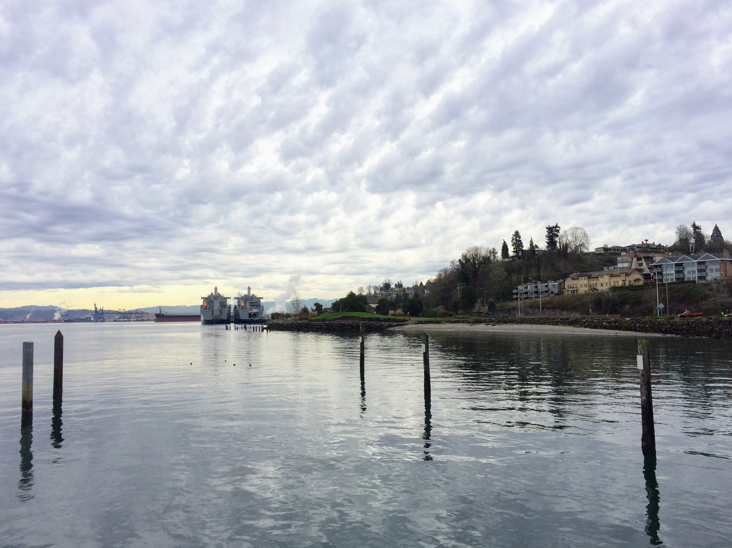 Looking south from the Old Town Dock past Jack Hyde Park to the Port of Tacoma.