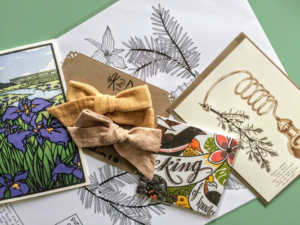 Look for beauties like these at the Fieldhouse Flea Market this weekend! Bows from Kd Bird, prints from Maria Jost, a pocket journal from Springtide Press, and stationary from Yoshiko Yamamoto of The Arts & Crafts Press.