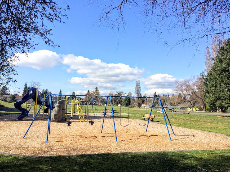 Playground at Jane Clark Park. A nice spot to stop when you're in the neighborhood.