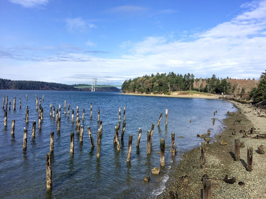 Looking north along Titlow Beach to the Narrows Bridges.
