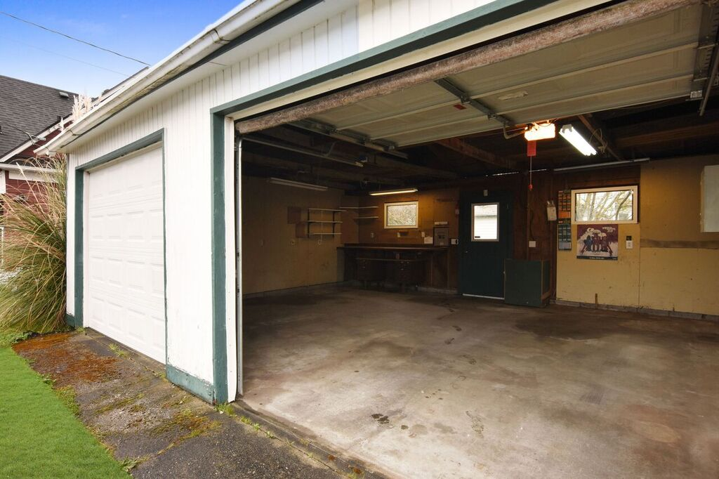 2 car detached garage with shop space.