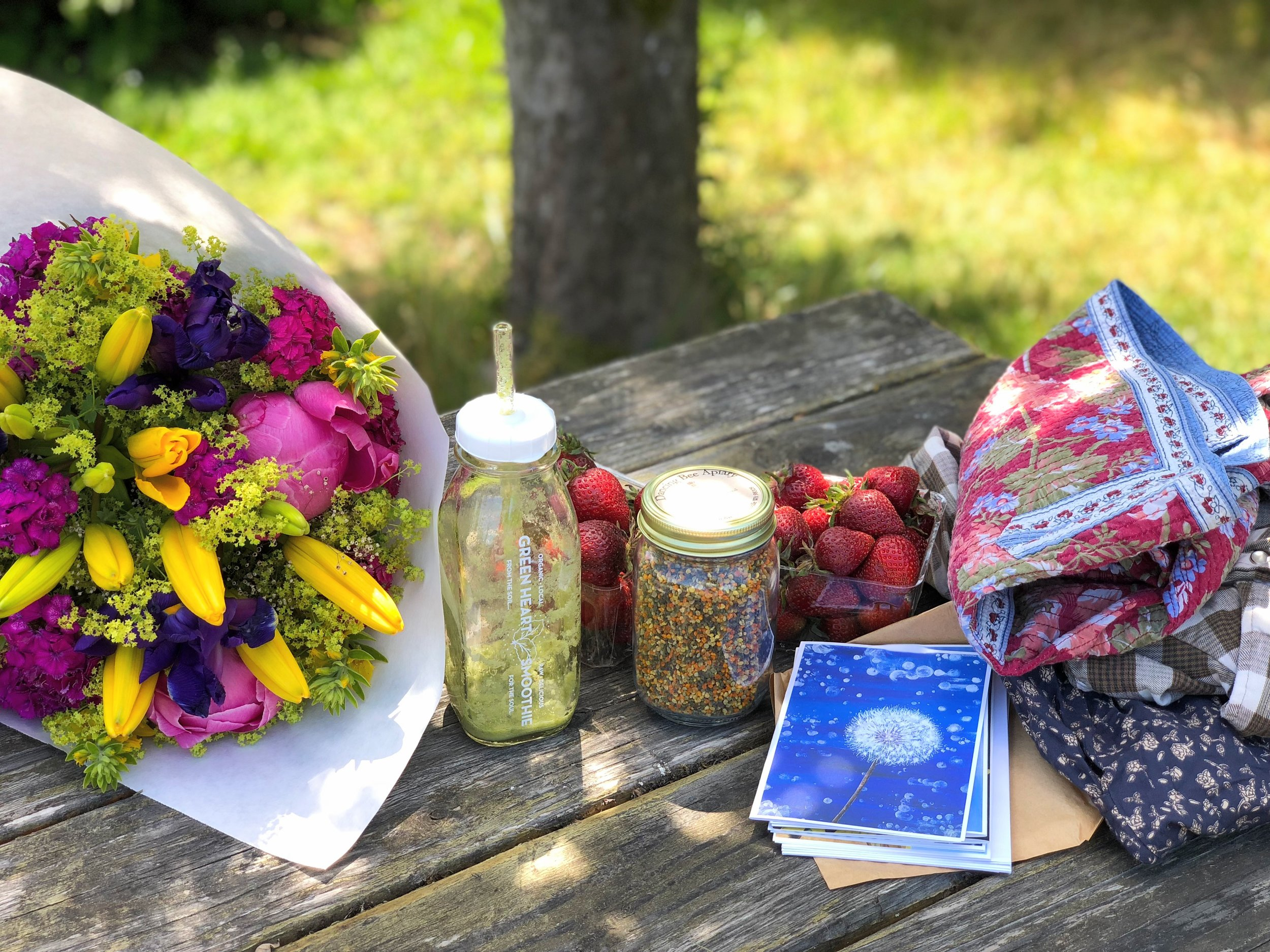 Treasures from the Proctor Farmers' Market and La Paloma Proctor.  Greenheart Smoothie ,  Spooner Farms  strawberries, cards by  Kelly Falk ,  Dancing Bee Apiary  pollen, and vintage/thrift apparel finds.
