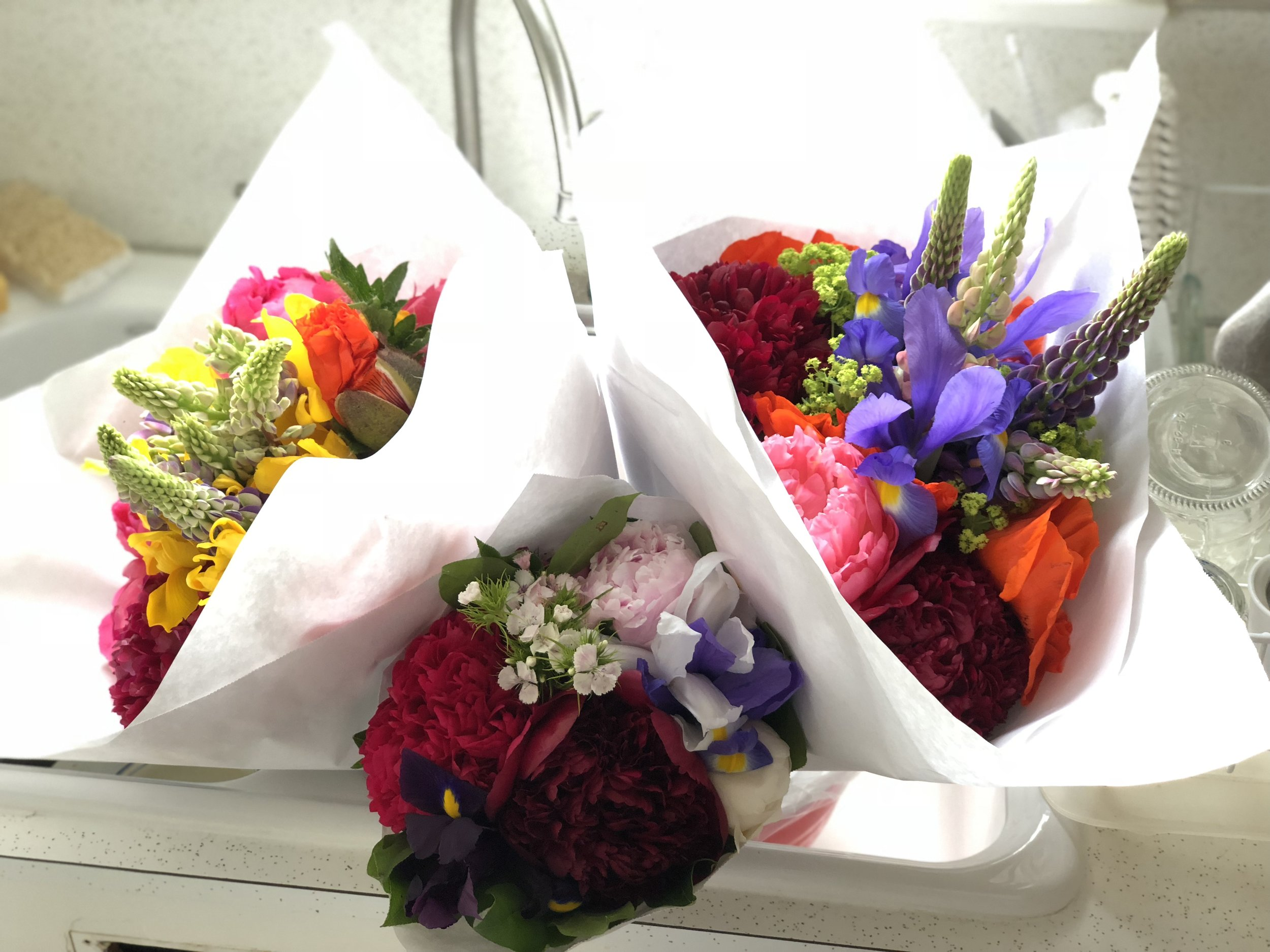 Broadway Market Bouquets - Sometimes you need 3! These were just $10 for the larger and $5 for the smaller. Amazing!