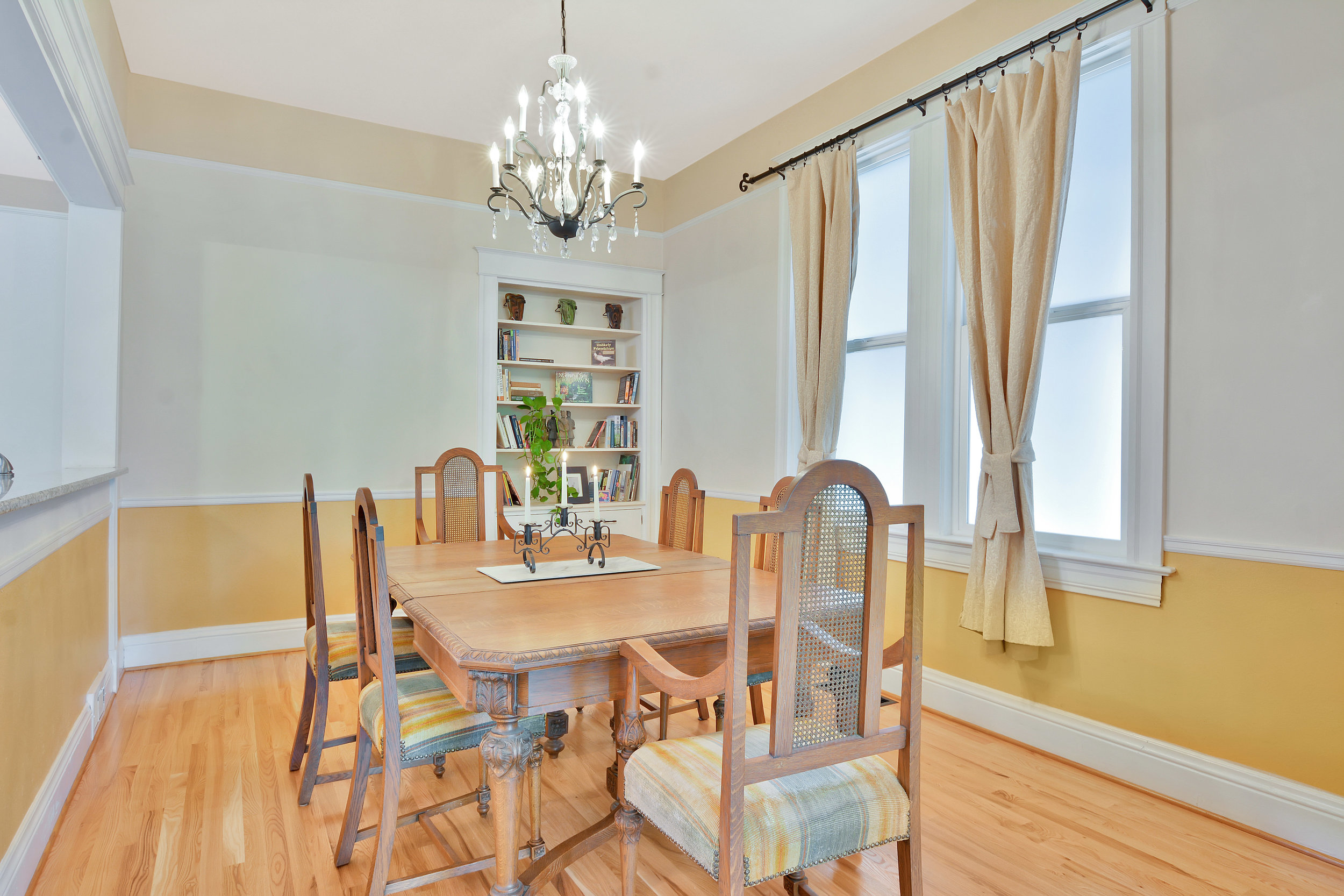 Dining room with built in shelving.