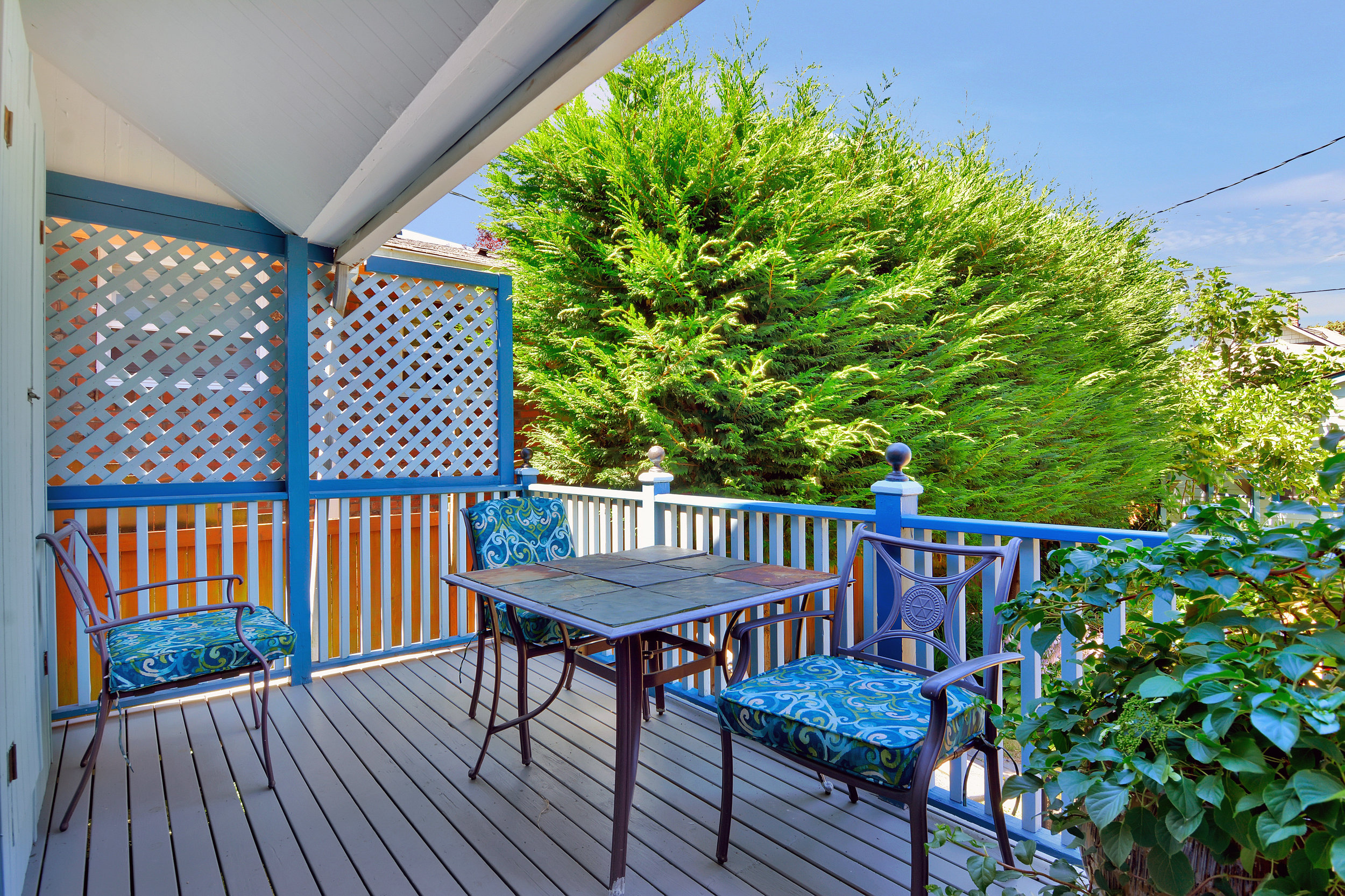 Partially covered back porch