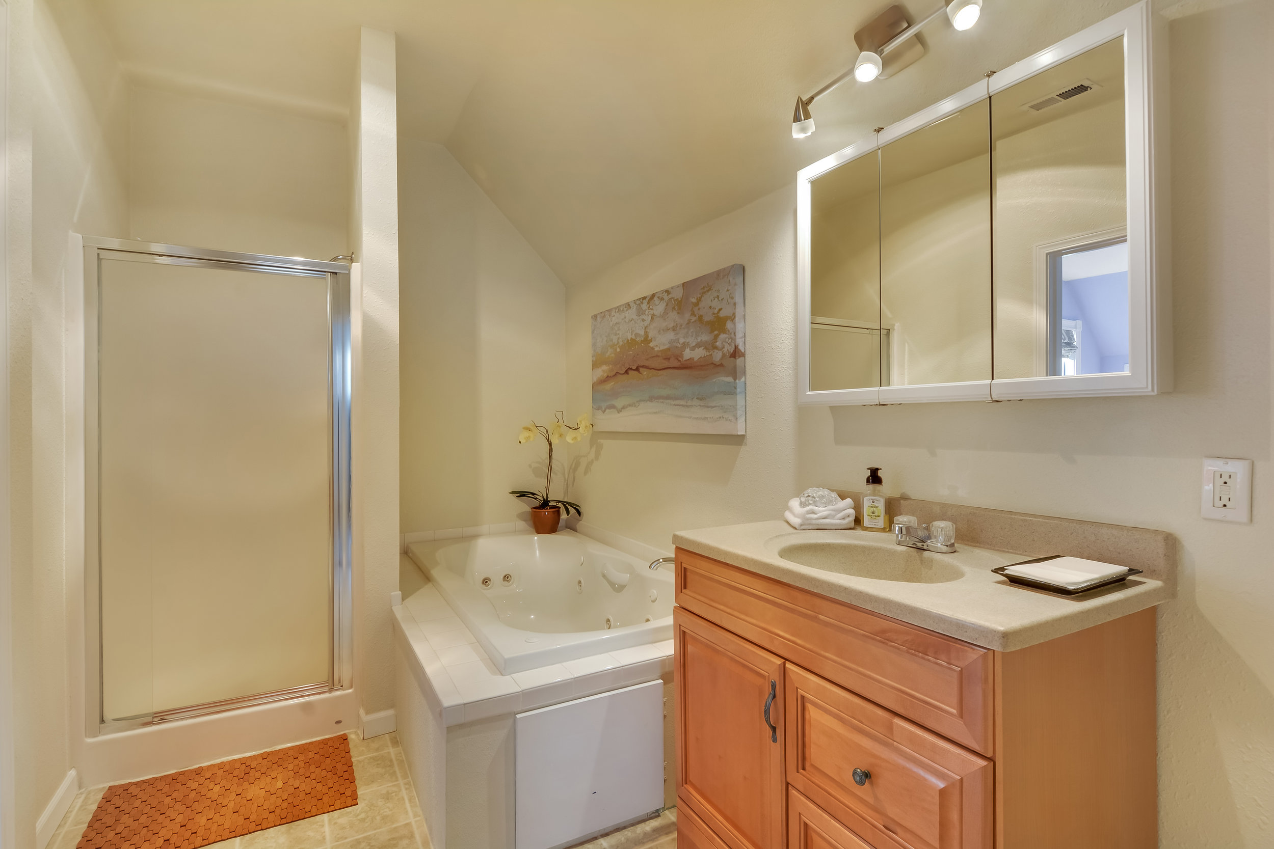 Upstairs full bath with its tiled-in jetted tub, separate shower, and generous vanity. Find even more storage behind the mirror doors. This bathroom is accessible directly from inside both upstairs bedrooms.