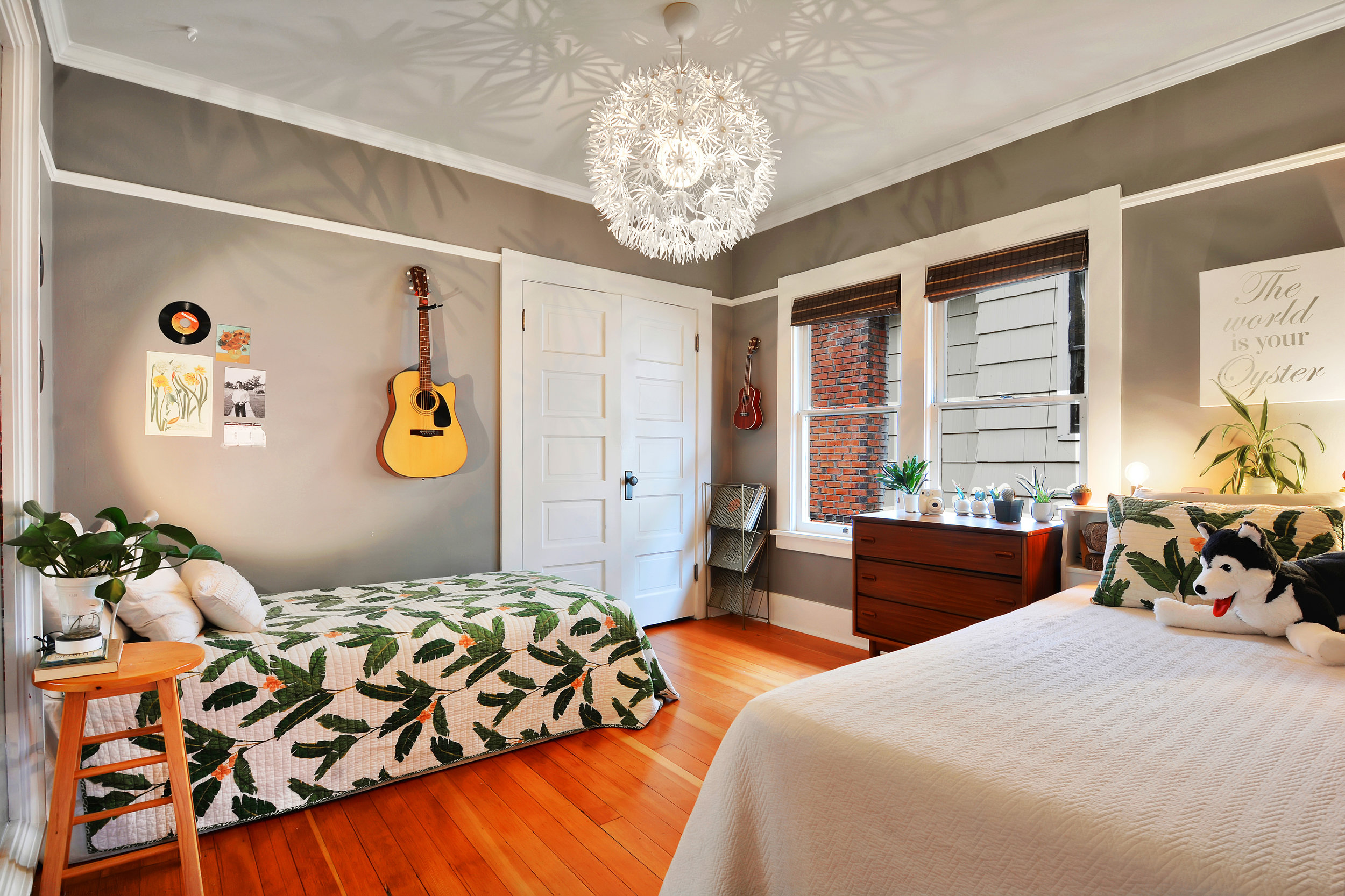 This main floor bedroom sets up nicely with two twin beds for a shared room or sleepovers.