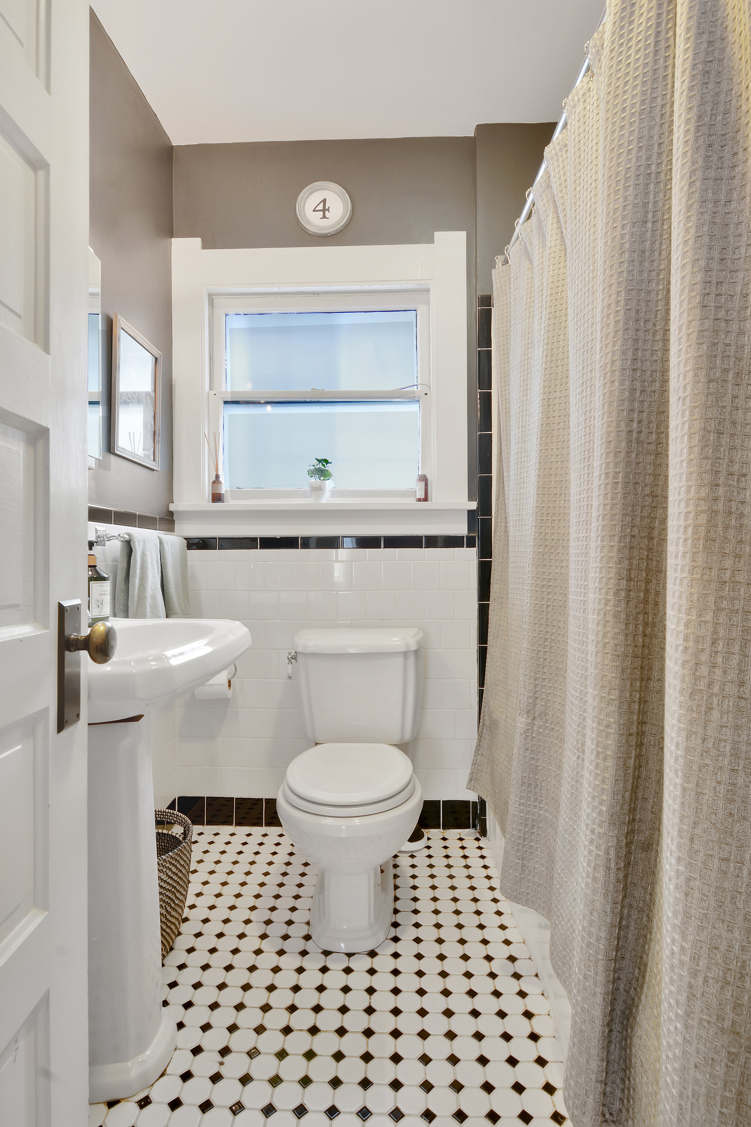We love the black and white tile floor!