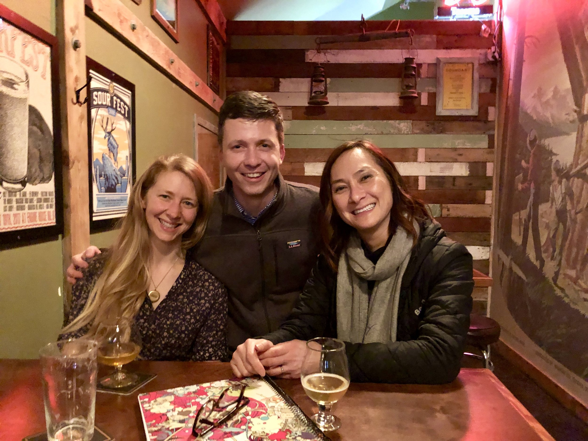 Our first meeting at  Peaks & Pints  where the Duggan, Brooks & Books Project got started. (Left to right: Gretchen Duggan, Michael Duggan, Dr. Jamie Brooks)