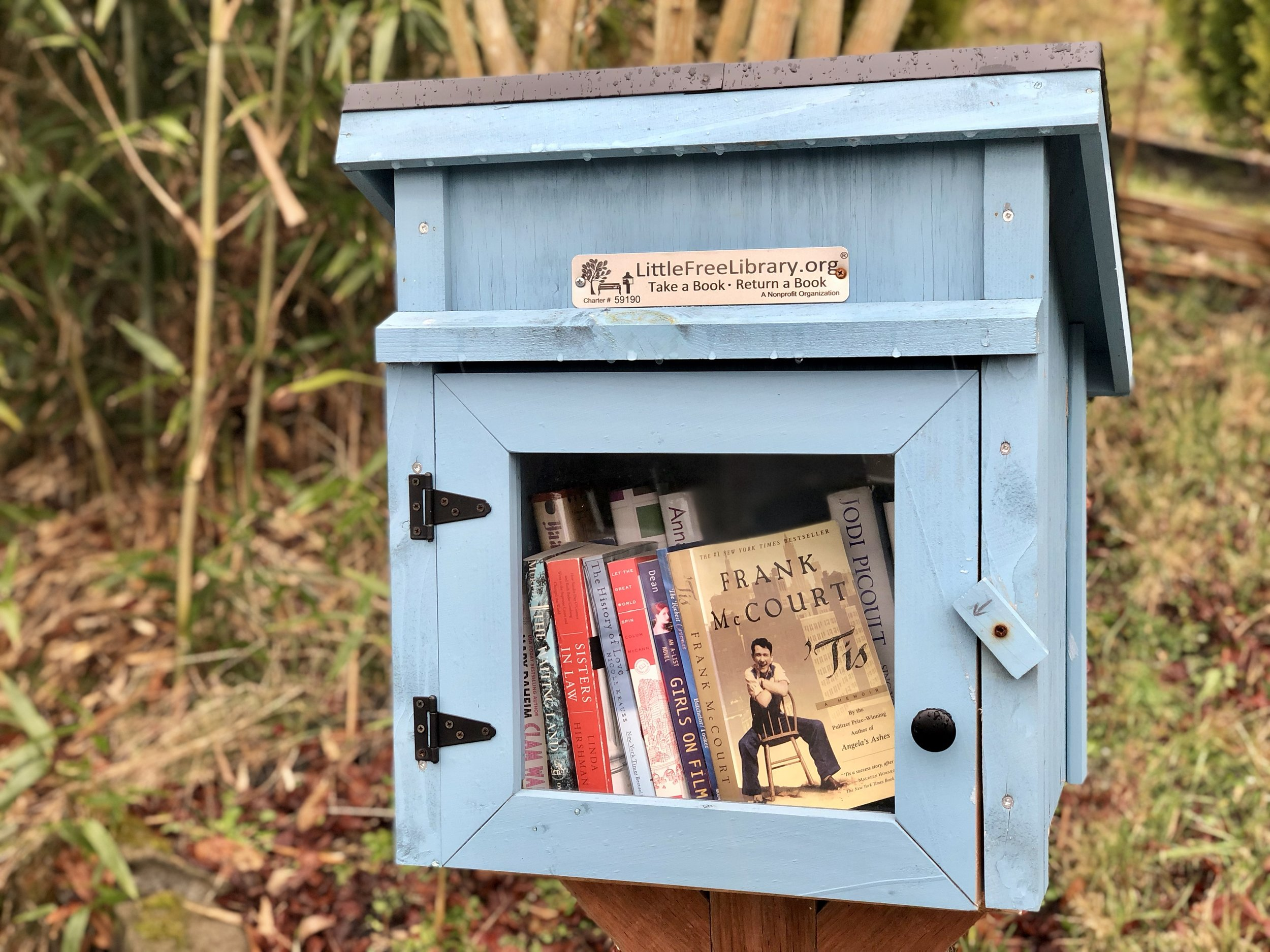 One of many Little Free Libraries in Tacoma. You'll find this library on North Fernside Drive, on the hillside above Titlow Beach and the Narrows.