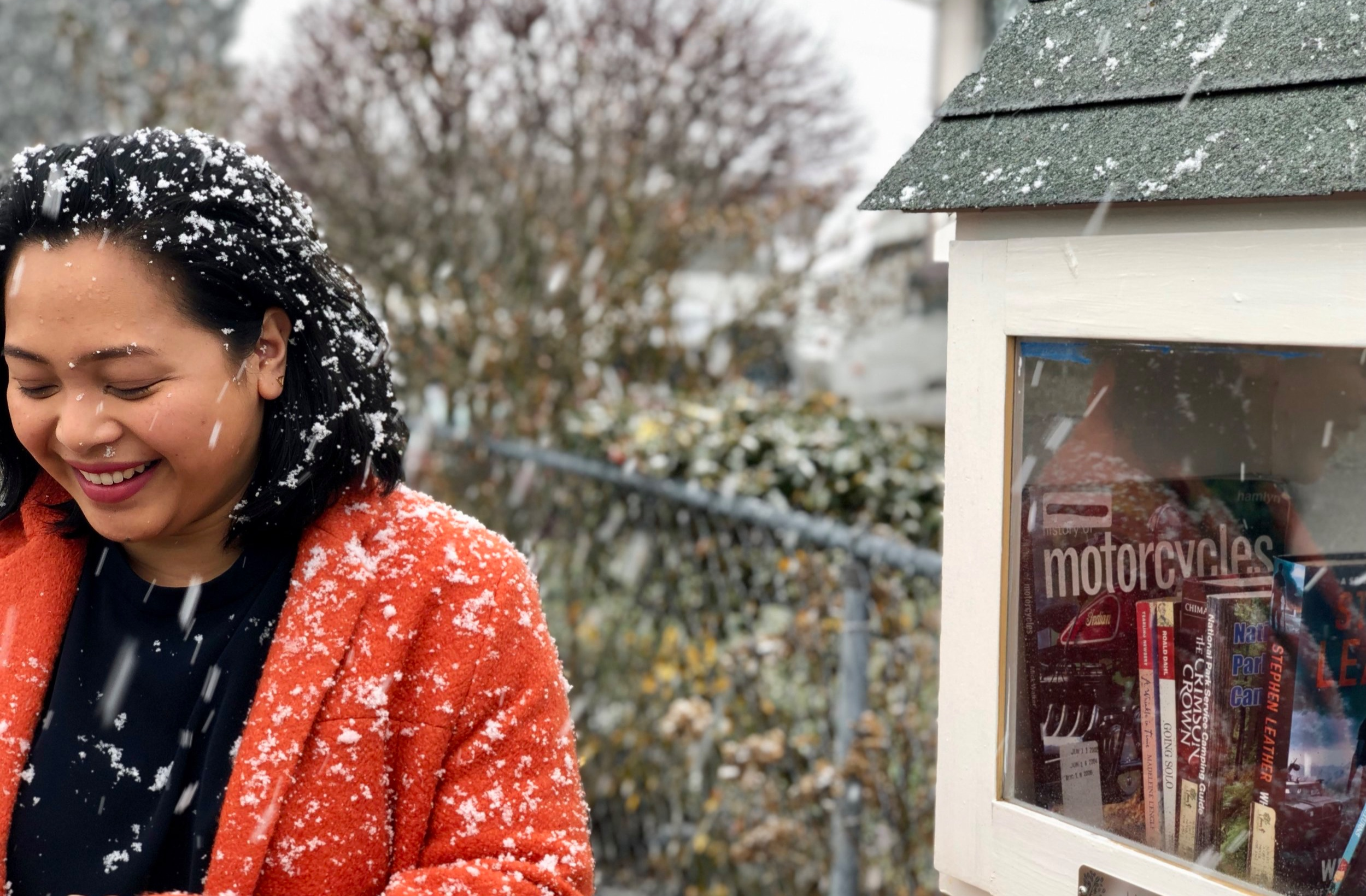 Meet Melo, proud Eastside Tacoma resident and steward of the Hogan Family Community Library. She was such a good sport for this wintry photoshoot (and looks pretty dang cute in the snow)!
