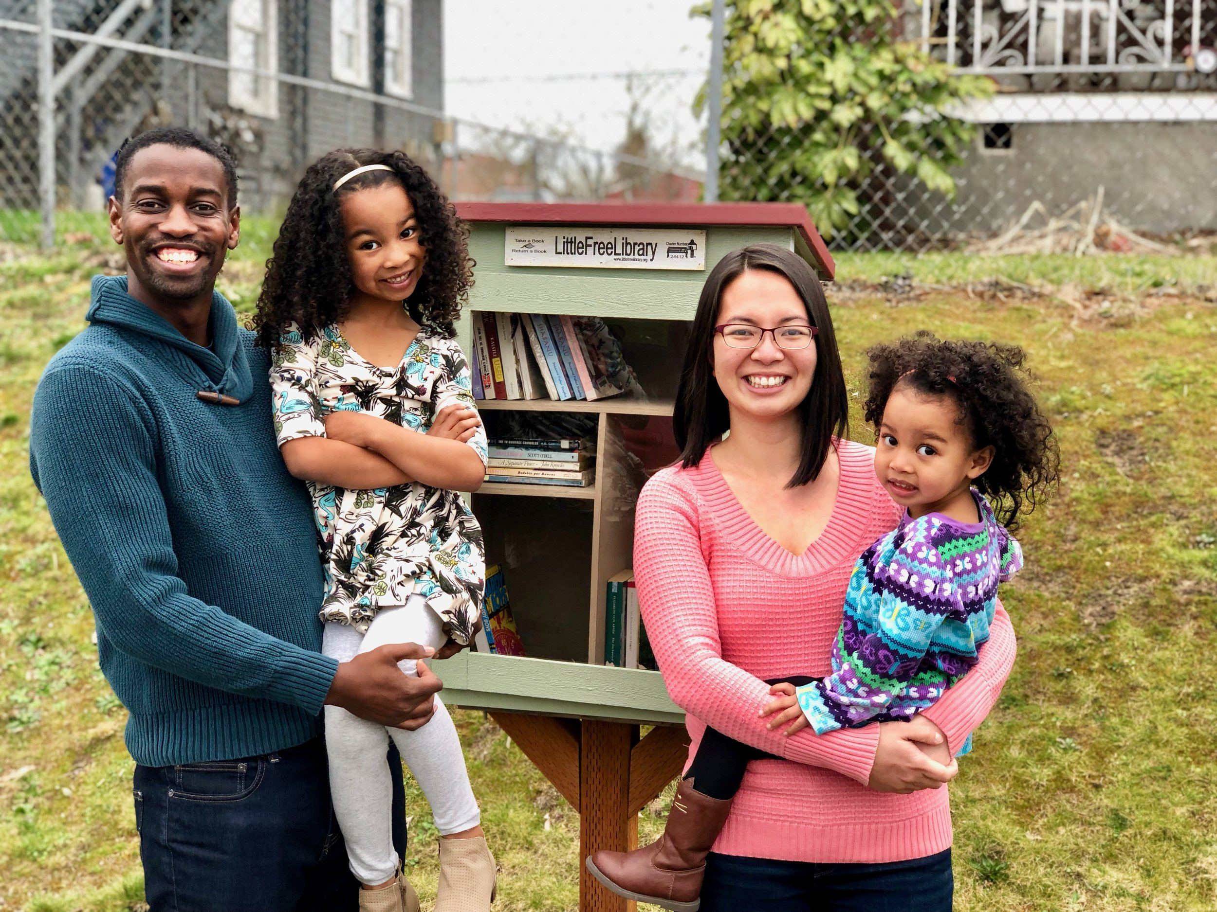 Meet Julia, her husband Trevor, and their 2 girls. Julia is a Hilltop Tacoma resident and steward of a Little Free Library on South M Street. The whole family turned out to introduce me to their neighborhood's library. Let's fill it with books!