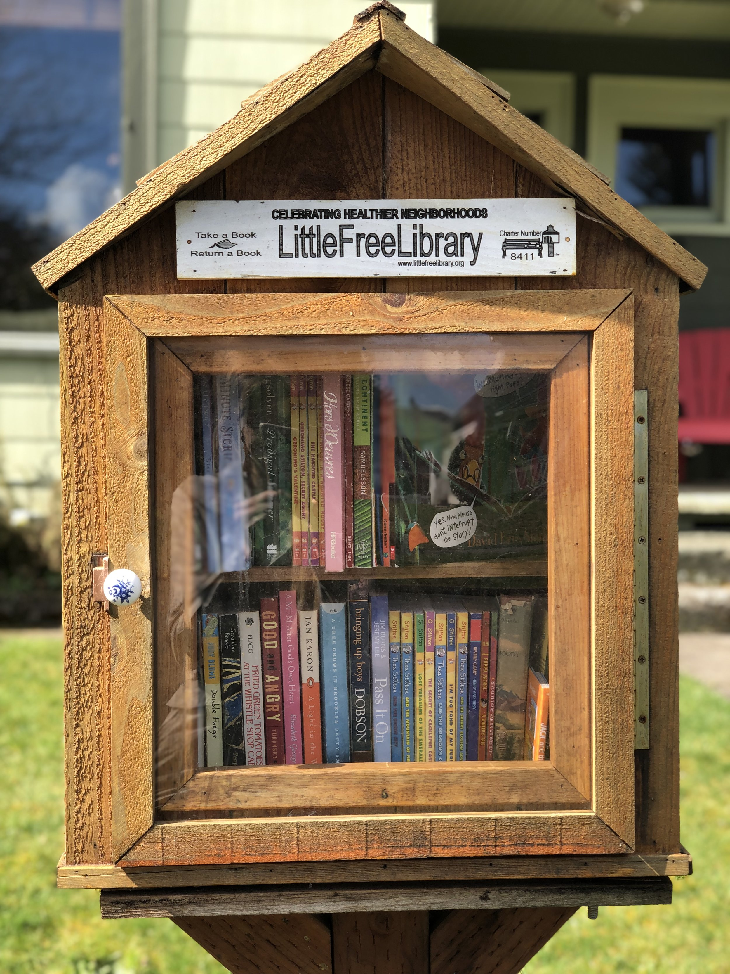 Another of Tacoma's one-of-a-kind Little Libraries. This shingled, woodsy gem is at 922 S Cushman. Notice the Charter Number on this library. Libraries officially registered with Little Free Library show up on searchable maps managed by the nonprofit.