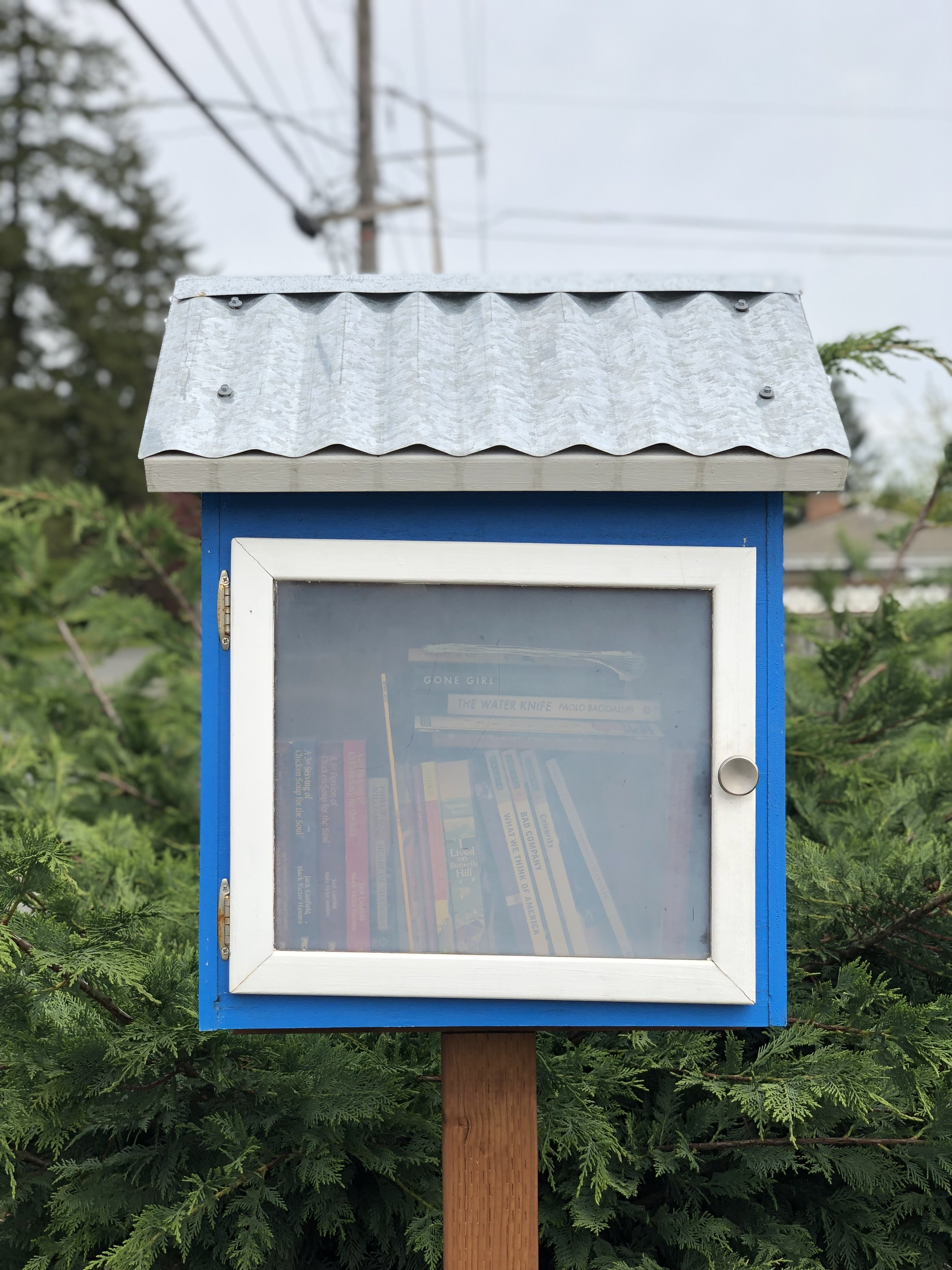 Our featured library is located at the Emergency Food Network's Distribution Center at 3318 92nd St S in Lakewood, just off South Tacoma Way.