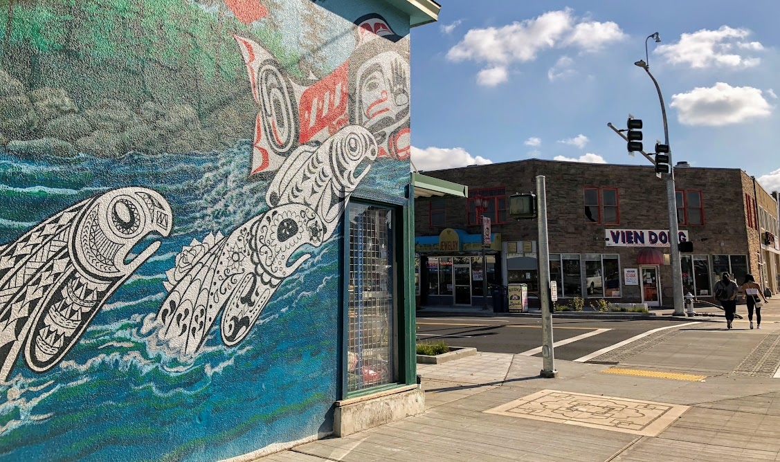 Bob Henry's Leaping Salmon Mural at S. 38th and Yakima in the Lincoln District just 4 minutes away. Don't miss  Vien Dong  in the background!