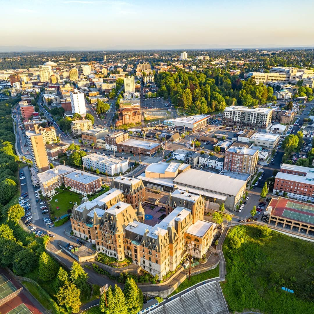 Image from   Over Tacoma  - Looking over Stadium High into the Stadium District with all its restaurants, local businesses, Stadium Thriftway, and Wright Park - all just a mile or less from 824 N M.