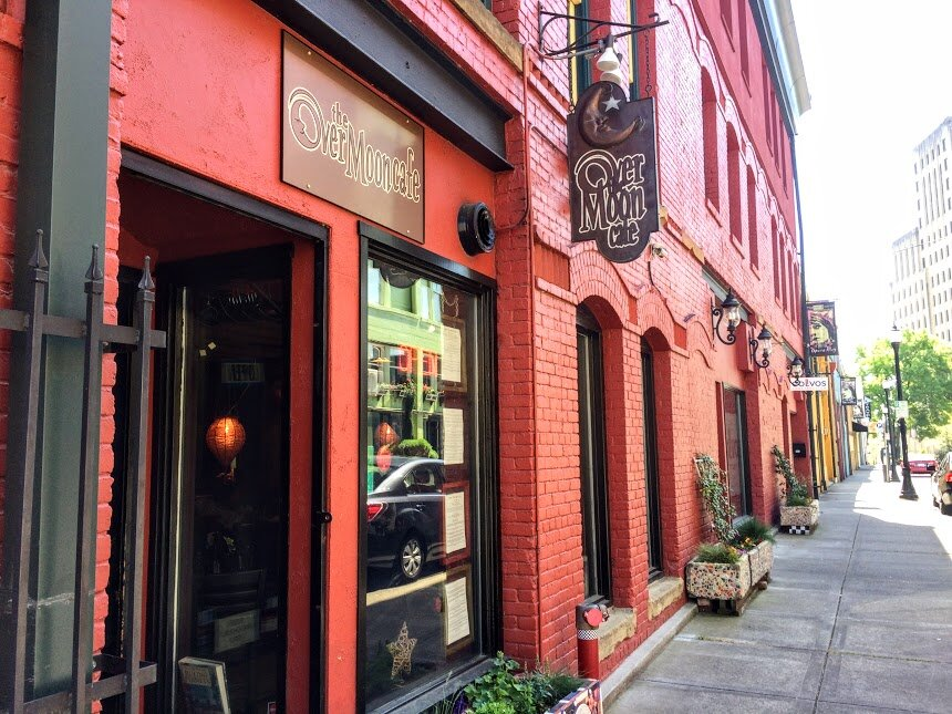 Over the Moon Cafe is nestled in Opera Alley, a colorful and scenic street just up the hill from McMenamins - a 6 minute drive from 824 N M.