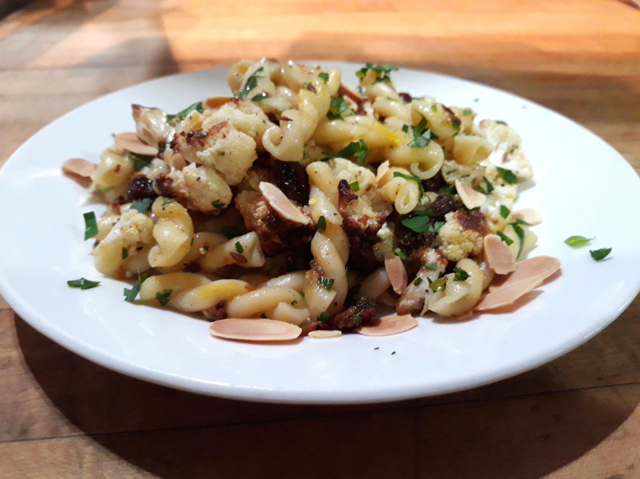 GEMELLI WITH ROASTED GARLIC & CAULIFLOWER