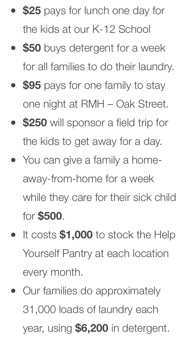 *Taken directly from the Ronald McDonald House - UMW website.