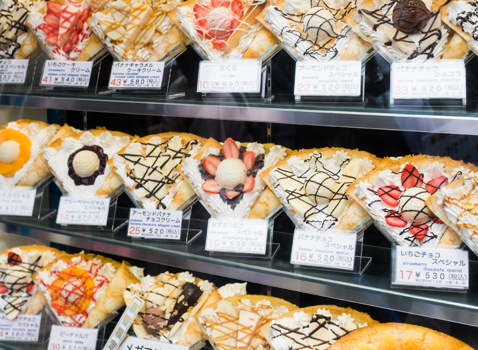 Plastic crepes on display in Harajuku