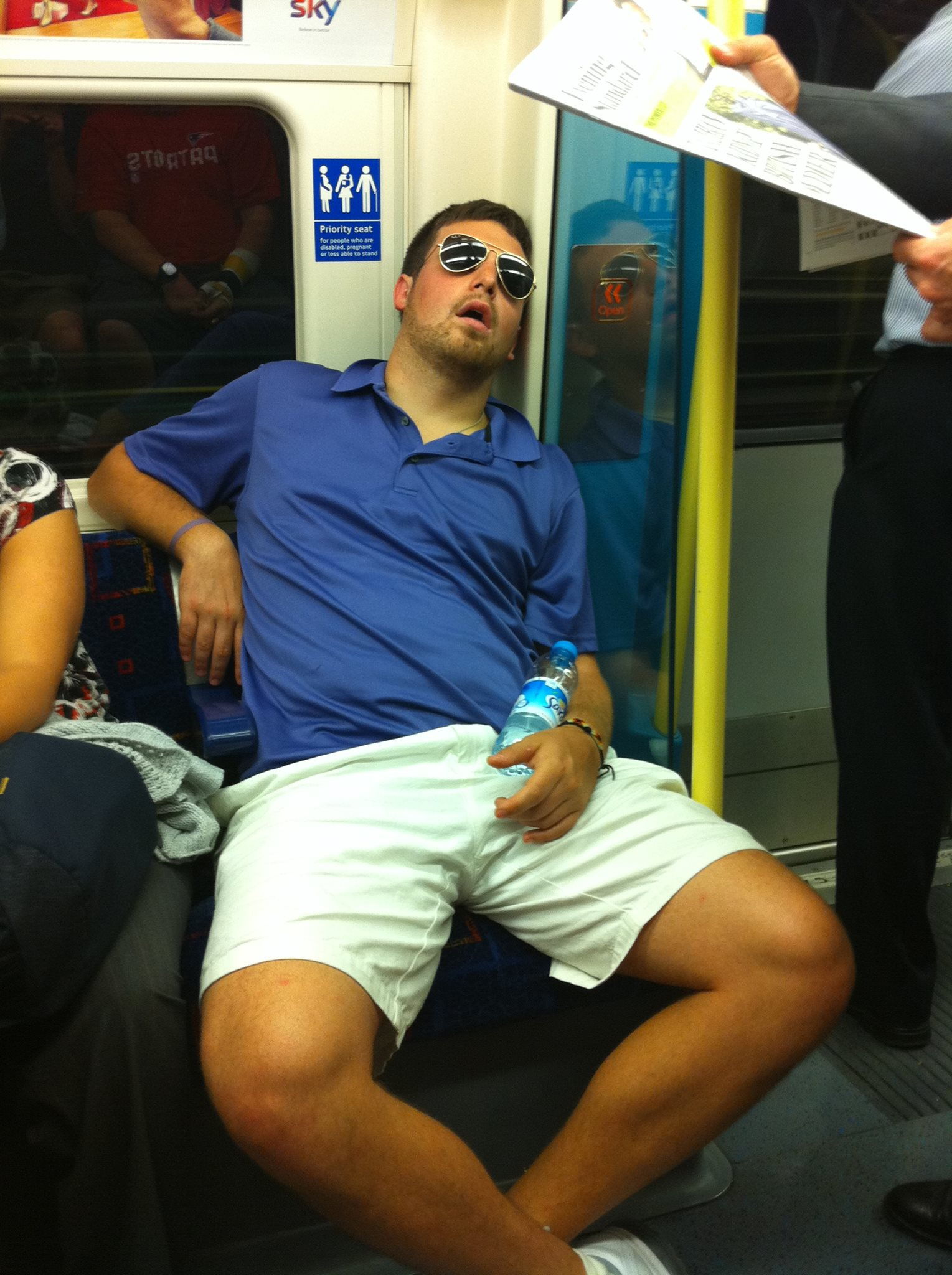 """Food coma on the """"Tube"""" in London, UK after a dinner at  Caprini's . Within 20 minutes of eating, I was sleeping all the way to Sandwich, UK."""