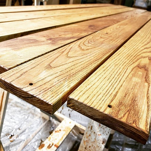 #ManofLaMancha Benches in process. . The many steps include: Weld the bases, buy the lumber, cut the cut list, round the edges, drill the holes, stain and seal the wood, line up the boards with spacers, drill the partner holes in the steel, and bolt together. . Now do it six times over. . . #props #propsistops #welding #carpentry #benches