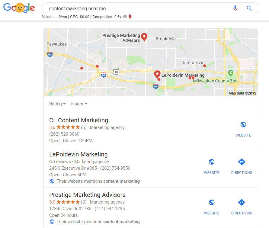"""My results when I searched for """"content marketing near me""""."""