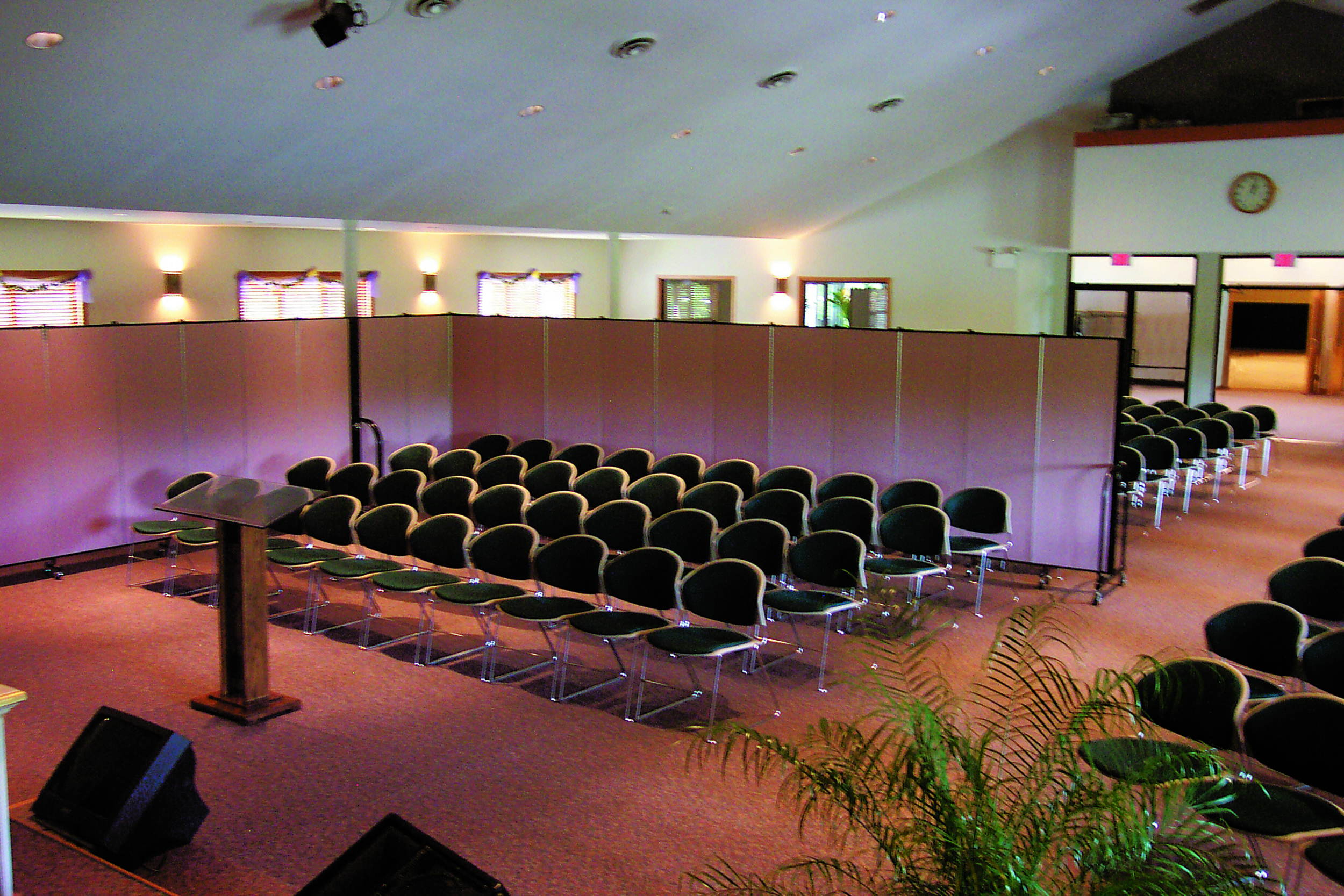 Screenflex portable screen in a church