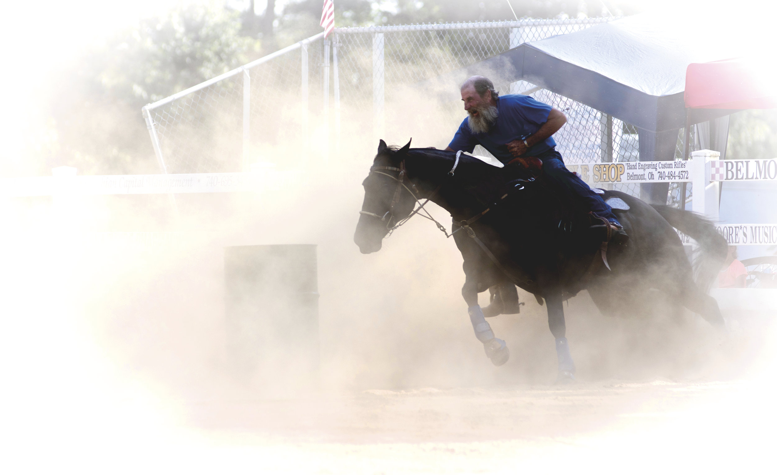 Barrel Racing event that was a giant dust bowl with high sunny the entire time.