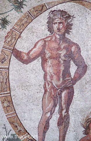 Uranus and the Zodiac-Wheel, Greco-Roman mosaic C3rd A.D.,  Glyptothek Munich