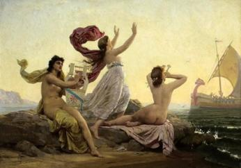 The Sirens, painting by Marie Francois Fermin-Girard (1838-1921)
