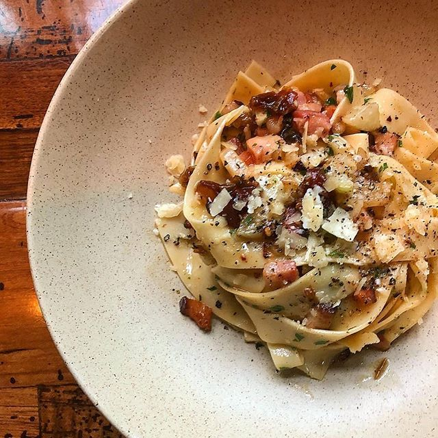 House made Pappardelle, medjool date, cubed bacon, and fennel in white wine butter topped with 8 year Colby from our friends at Laurel Valley Farm.  Beautiful pasta from Chef Andrew and his team!