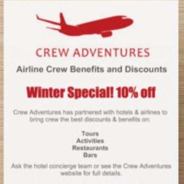Hey crew going on Auckland layover. We have winter special 10% off already discounted tours 🙂 Use promo code Wintercrew to get your extra discount.  Tour prices after discount in NZD are: Hobbiton $157 per person  Hobbiton & Rotorua $247.50 per person Hobbiton & Waitomo $238.50 per person  Waitomo & Rotorua $238.50 per person  Rotorua with one attraction from $166.50 per person  Rotorua with 2 attractions from $247.50 per person  Coromandel Adventure $198 per person  Wild West Coast $130 per person Horse riding and Wine Tasting Day $290 per person  Private tour $100 per person + Activities (you choose activities)  Book on www.crewadventures.com If you have any questions whatsapp me on +64 22 376 3081 (Michaela ex crew) or email to bookings@crewadventuresnz.com  And don't forget to use discounts in Auckland that we've organised for you 🙂