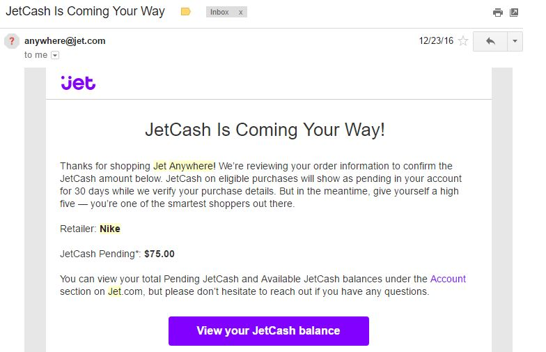 JetCash confirmation email