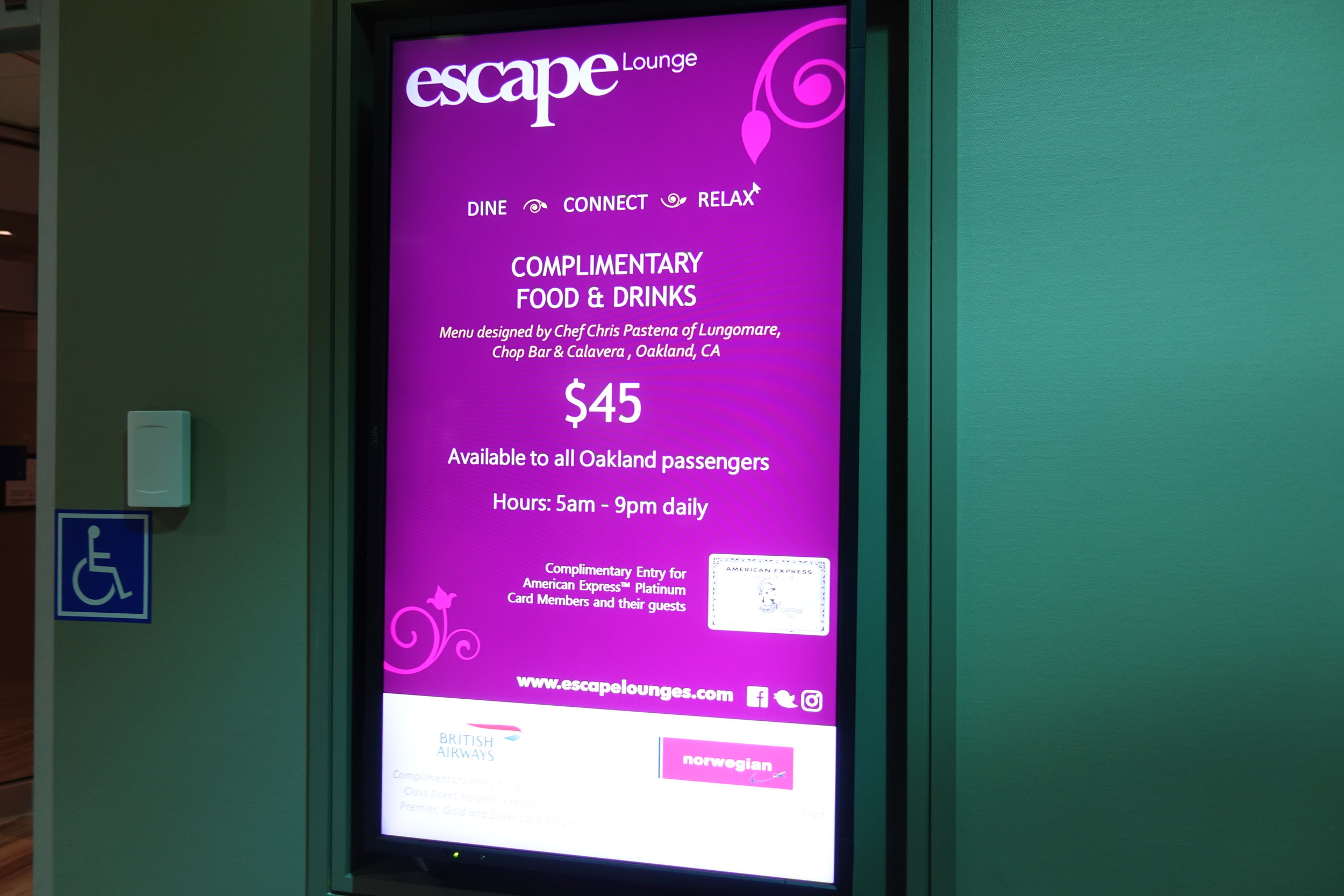 Escape Lounge entrance fee and hours