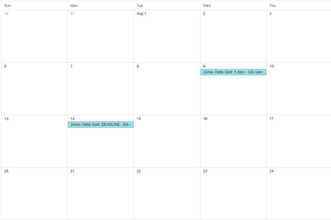 Calendar reminders for minimum spend deadlines