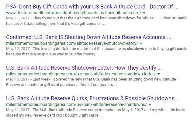 Google search of U.S. Bank Shutting down accounts w/ Visa gift cards