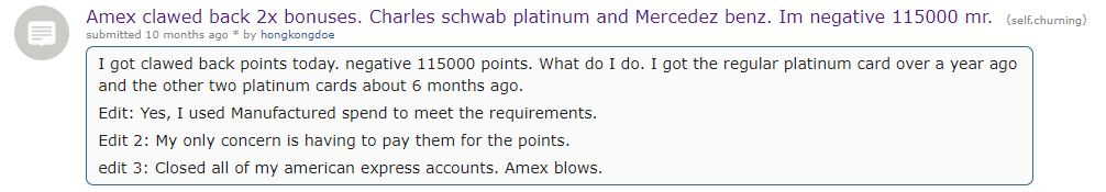 Amex clawbacks signup bonuses