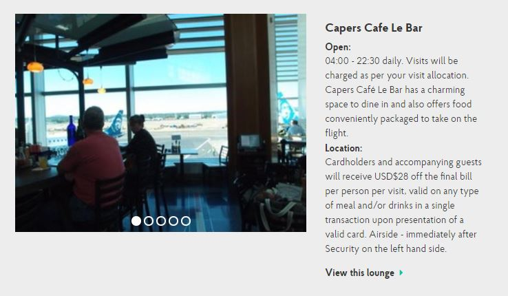 Capers Cafe Le Bar at PDX (Image via priority pass.com)