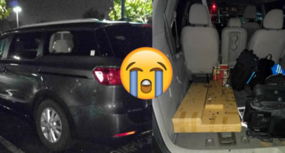 smashed rental car window and stolen belongings
