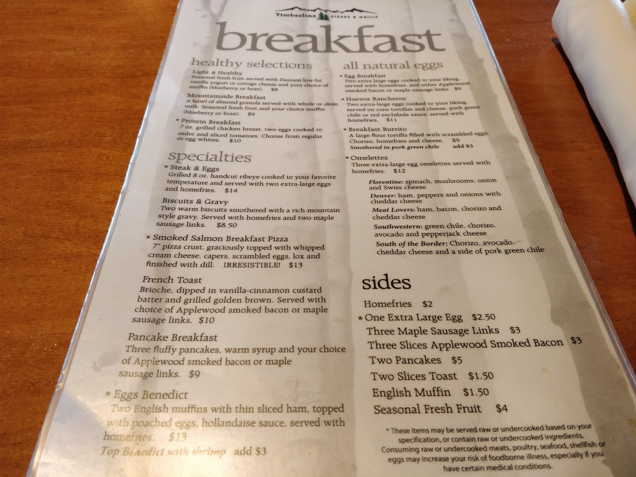 timberline steaks & grille breakfast menu